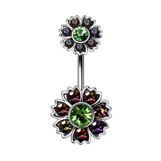 Piercing nombril duo de fleurs iridescentes