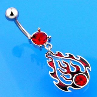 Piercing nombril flamme rouge