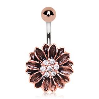 Piercing nombril fleur antique plaqué or rose