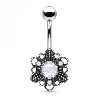 Piercing nombril fleur mystère vintage