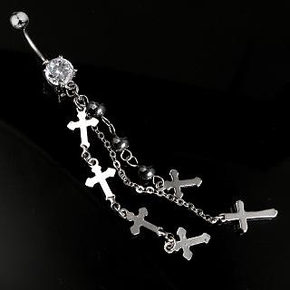 Piercing nombril gothique chaînes et croix