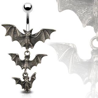 Piercing de nombril gothique à chauves-souris vampire
