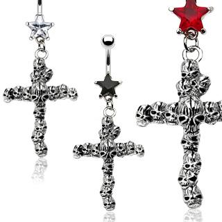 Piercing nombril gothique croix cranes empilés