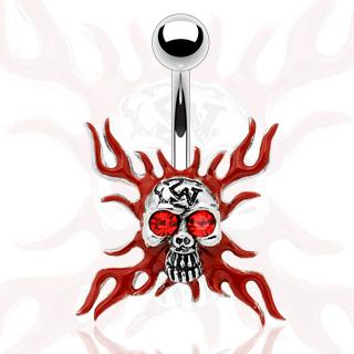 Piercing nombril gothique tête de mort en feu