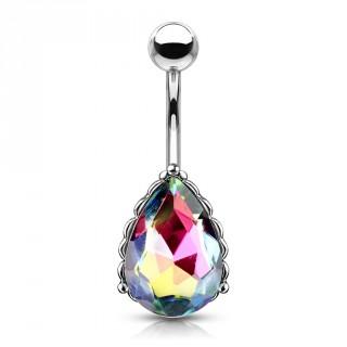 Piercing nombril à goutte de cristal facettée - Vitrail Medium