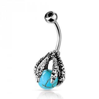 Piercing nombril griffe de dragon serrant une orbe de turquoise