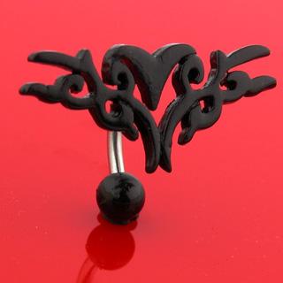 achat piercing nombril invers bouclier tribal noir pas cher. Black Bedroom Furniture Sets. Home Design Ideas