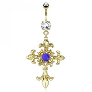 Piercing nombril plaqué or avec croix à fleurs de Lys et pierre bleue