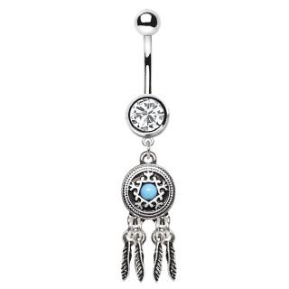 Piercing nombril à plumes et bouton perlé