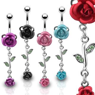 Piercing de nombril roses et feuilles