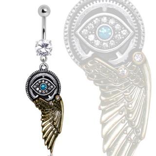 Piercing nombril SteamPunk à oeil et aile d'ange