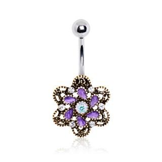 Piercing nombril style antique à fleur Camélia