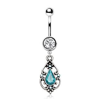 Piercing nombril style antique à pierre bleu lagon