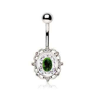 Piercing nombril style miroir ancien à strass vert et clairs