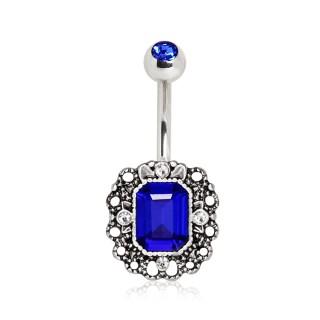 Piercing nombril style royal à zirconium bleu saphir