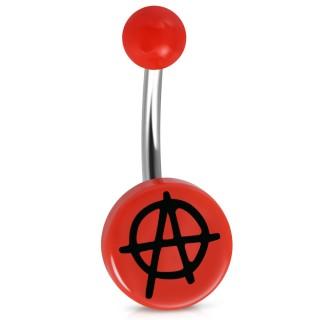 """Piercing nombril à symbole """"A"""" Anarchiste - Rouge"""