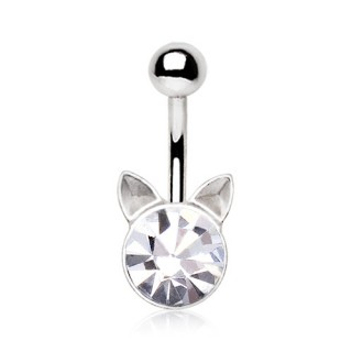 Piercing nombril tête de chat strass