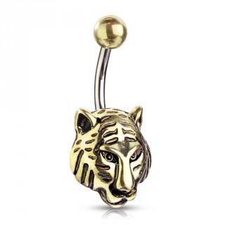 Piercing nombril à tête de tigre dorée antique