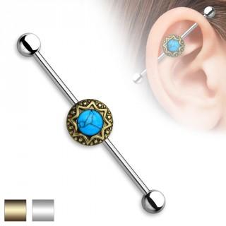 Piercing oreille industriel à disque solaire et turquoise
