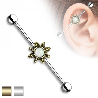 Piercing oreille industriel à soleil tribal et Opale