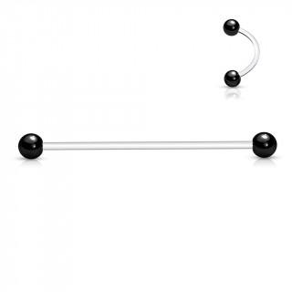 Piercing oreille industriel à tige bioflex et boules noires en acier
