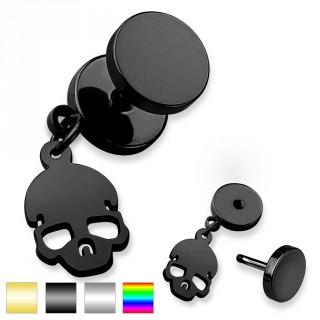 Piercing oreille style faux plug à pendentif tête de mort