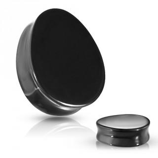 Piercing plug goutte en Agate noire (pierre semi-précieuse)