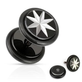 Piercing style faux plug avec étoile à 8 branches