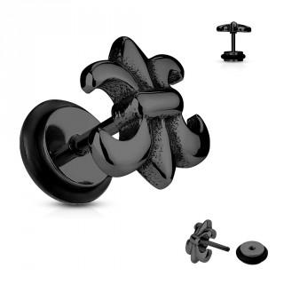 Piercing style faux plug fleur de lys noire