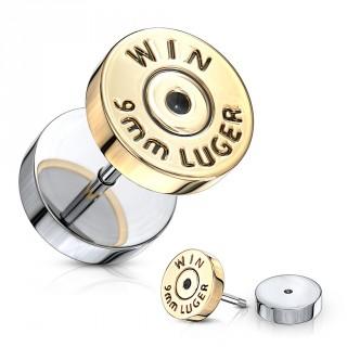 Piercing style faux plug imitation balle de pistolet