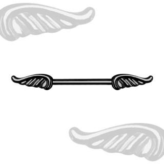 Piercing téton à ailes d'ange en acier plaqué PVD noir