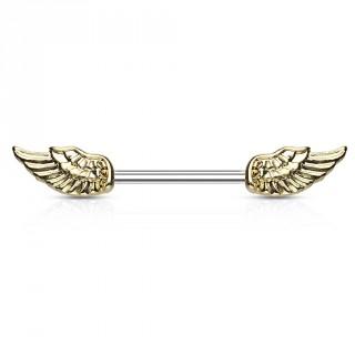 Piercing téton à ailes d'ange vintage dorées