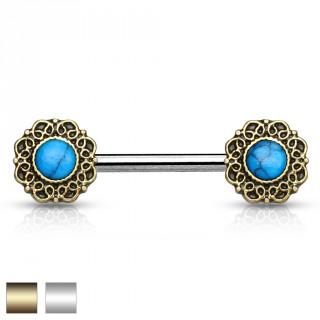 Piercing téton à couronnes de coeurs avec turquoises