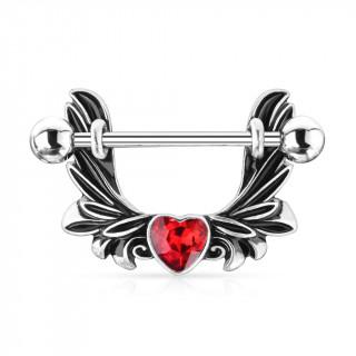 Piercing téton à ailes d'ange vintages et coeur rouge