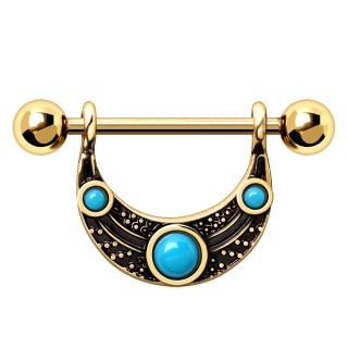 Piercing téton doré à bouclier tribal perlé