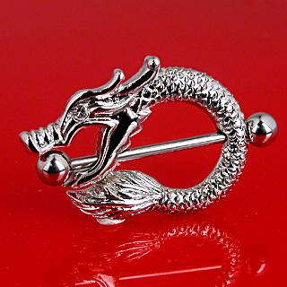 Piercing téton gothique dragon asiatique serti
