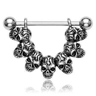 "Piercing téton gothique ""Lucky 7"" Skull Link"