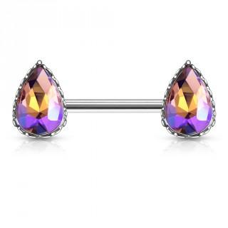 Piercing téton à gouttes de cristal nuancées - Pourpre