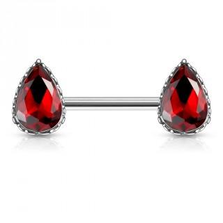 Piercing téton à gouttes de cristal nuancées - Rouge