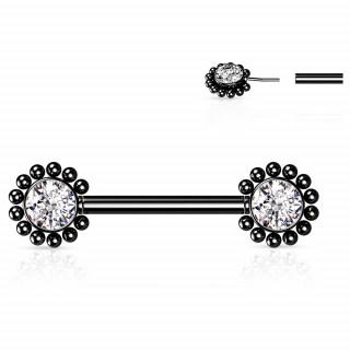 Piercing téton Noir push-in à fleurs strass perlées