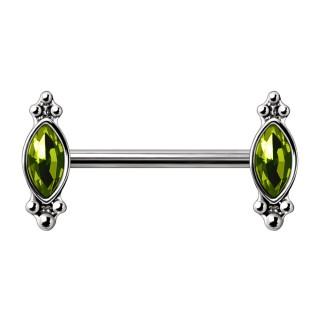 Piercing téton orné à pierres vertes en amande