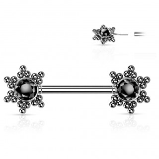 Piercing téton push-in à étoiles de perles et strass - Noir