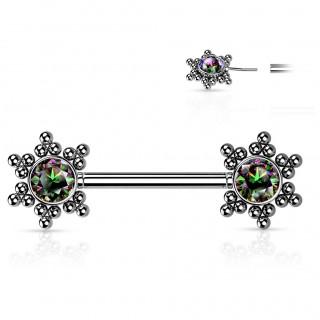 Piercing téton push-in à étoiles de perles et strass - Vitrail Medium