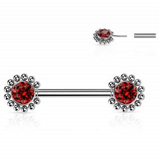 Piercing téton push-in à fleurs strass perlées - rouge