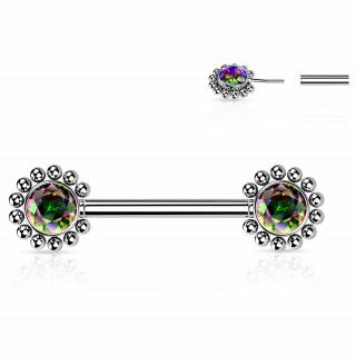 Piercing téton push-in à fleurs strass perlées - Vitrail Medium