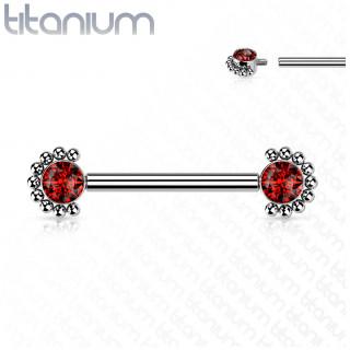 Piercing téton Titane à zirconiums rouges perlés (filetage interne)
