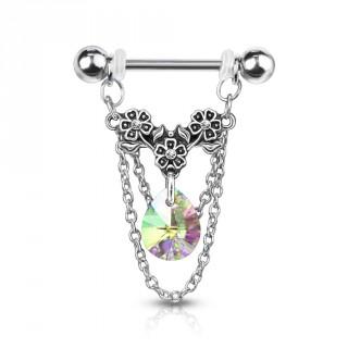 Piercing téton à trio de fleurs, chaines et cristal - Aurore Boréale