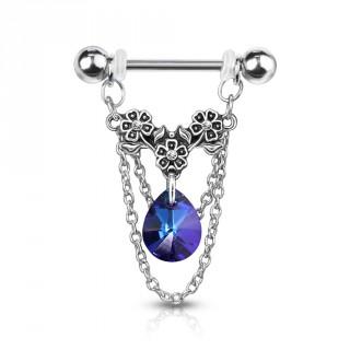 Piercing téton à trio de fleurs, chaines et cristal - Bleu