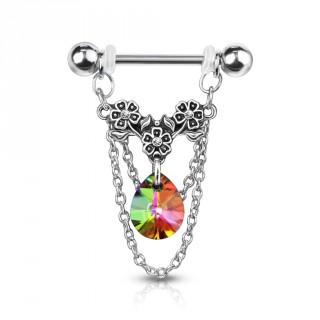 Piercing téton à trio de fleurs, chaines et cristal - Vitrail Medium