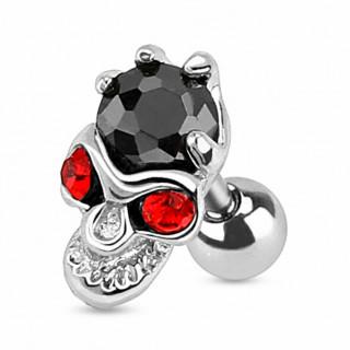 Piercing tragus / cartilage avec crane aux yeux rouge et pierre noire